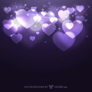 Fondo abstracto con las luces y corazones