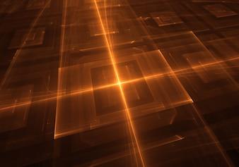 Fondo abstracto de luces naranjas tecno