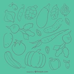 Fondo boceto verduras