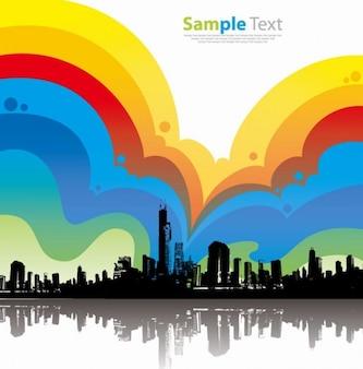 fondo colorido ciudad ilustración vectorial