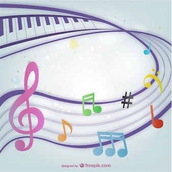 Fondo con coloridas notas musicales