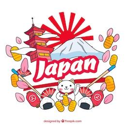 Fondo con elementos japoneses