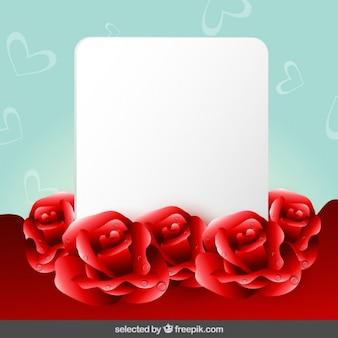 Fondo con las rosas y tarjeta en blanco