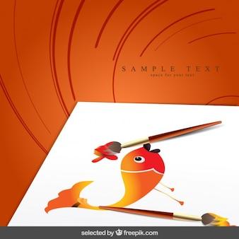 Fondo con pincel con pez pintado