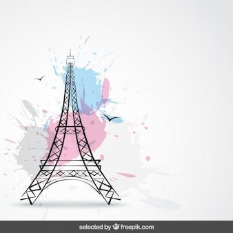 Fondo con torre Eiffel y salpicaduras