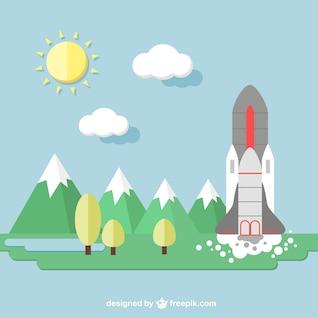 Fondo con transbordador espacial