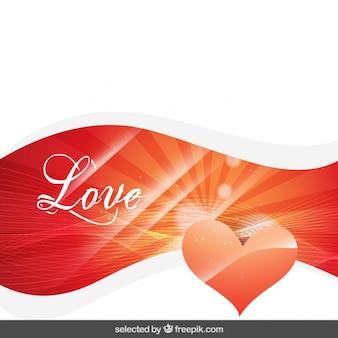 Fondo de amor brillante con un corazón