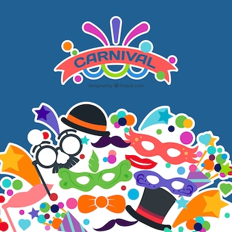Fondo de carnaval con iconos de disfraces