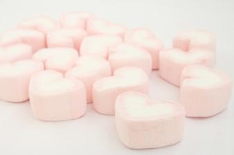 Fondo de corazones de caramelo de color rosa