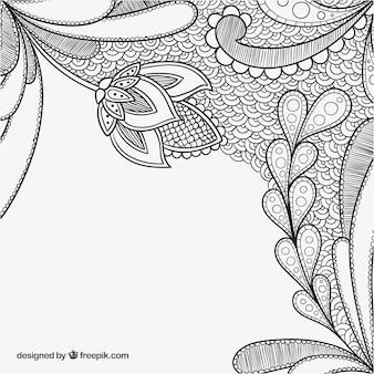 Fondo de decoración floral dibujado a mano