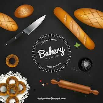 Fondo de elementos de panadería