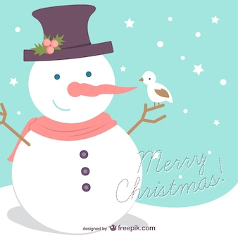 Fondo de Feliz Navidad con muñeco de nieve