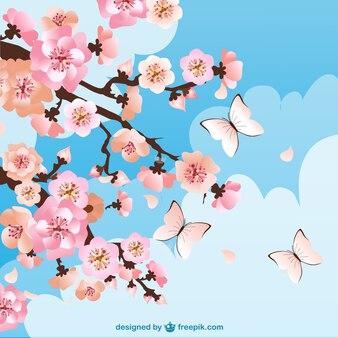 Fondo de flores del cerezo con mariposas