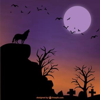 Fondo de Halloween con lobo y luna