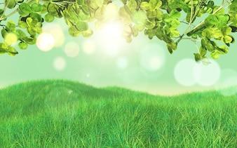 Fondo de hierba y hojas