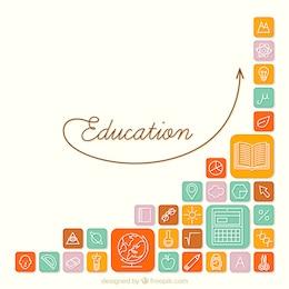 Fondo de iconos de la educación