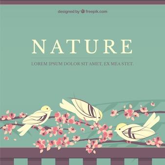 Fondo de la naturaleza con las aves