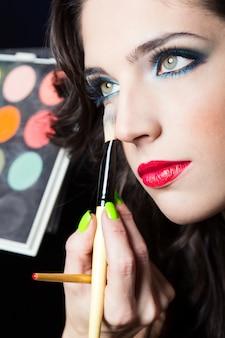 Fondo de la piel labios lápiz de labios retrato