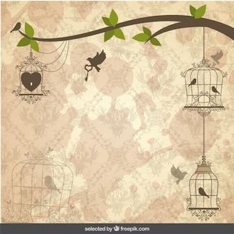 Fondo de la vendimia con los pájaros jaulas