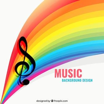 Fondo de música con un arco iris