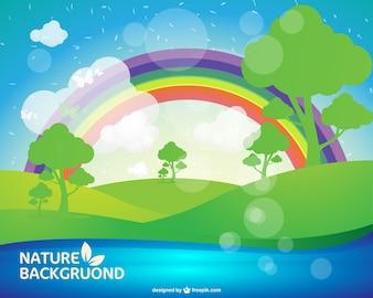 Fondo de naturaleza con arcoiris de colores