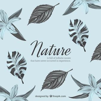 Fondo de naturaleza con flores y hojas