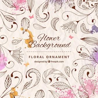 Fondo de ornamento floral dibujado a mano