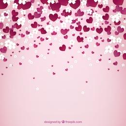 Fondo de primavera con flores y corazones