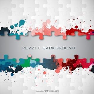Fondo de puzle con manchas de pintura