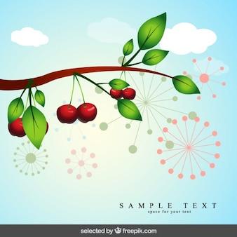 Fondo de rama con cerezas
