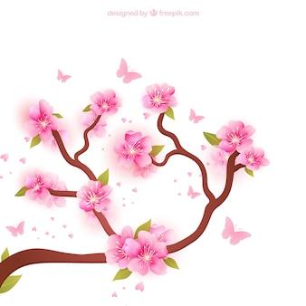 Fondo de ramas en flor