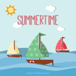 Fondo de tiempo de verano con veleros