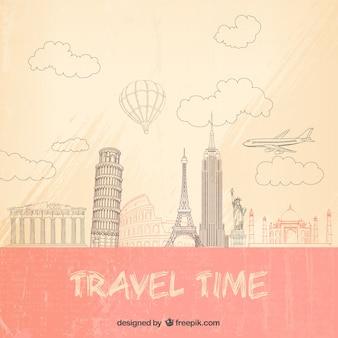 Fondo de tiempo de viajar en estilo esbozado