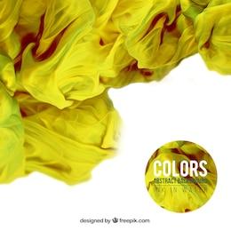 Fondo de tinta amarilla en agua