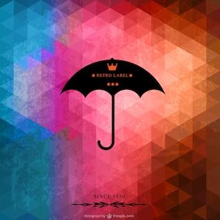 Fondo de triángulos con paraguas