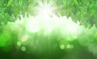 Fondo de vegetación con rayos de sol