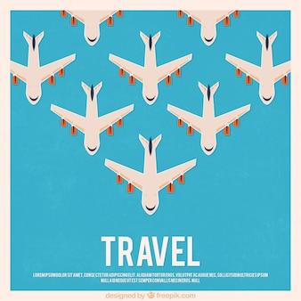 Fondo de viaje con aviones