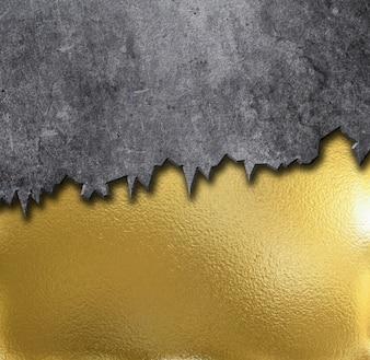 Fondo del metal de oro con cemento