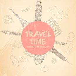 Fondo esbozado de tiempo de viajar