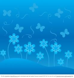 Fondo floral azul con mariposas