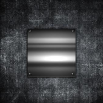Fondo grunge de metal con una placa metálica brillante