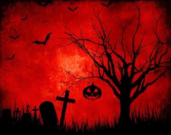 Fondo grunge rojo con siluetas de halloween