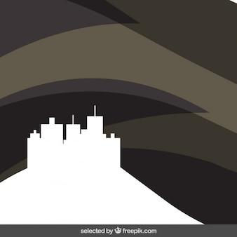 Fondo negro abstracto con paisaje urbano