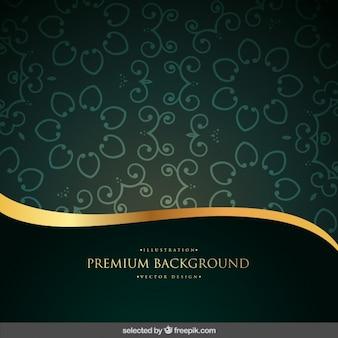 Fondo ornamental verde y oro