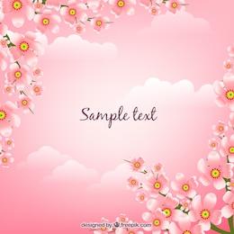 Fondo rosado con flores