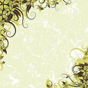Fondo verde rayado con las esquinas florales