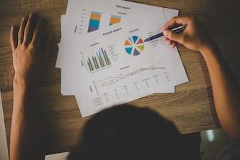 Fondos gráfico de cambio de gestión de ingresos