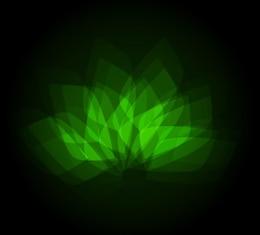 Forma de la flor verde sobre fondo oscuro