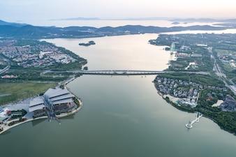 Fotografía aérea de la ciudad china