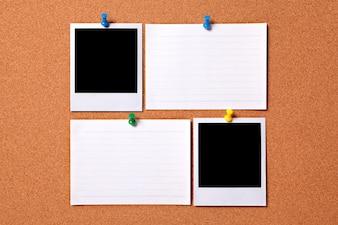 Fotos polaroids en blanco y notas